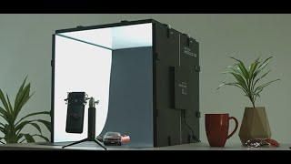 Advanced mini photo studio with a fully controlled light system for detailed object shooting!