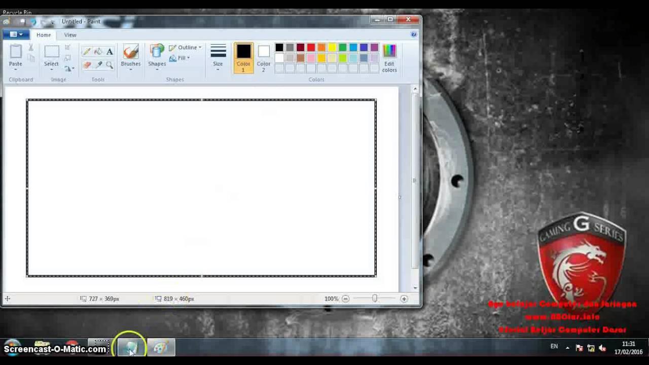 Serial Belajar Computer Dasar - Cara dasar Menggunakan Microsoft Paint - YouTube