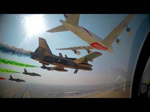 Airbus A380 & Boeing 777 Formation Flight with Al Fursan | Dubai Airshow 2017 | Emirates Airline