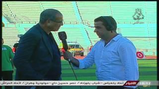 بلال بناري مع المدرب المغربي بادو الزاكي مباشرة من ملعب 24 فيفري ببلعباس