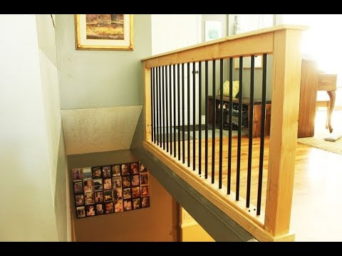 Diy Stair Handrail With Industrial Pipes And Wood Youtube | Industrial Pipe Stair Railing | Threaded Pipe | Rail | Banister | Galvanized Pipe | Wall