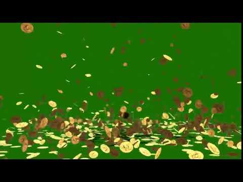 Falling money Coins Green Screen