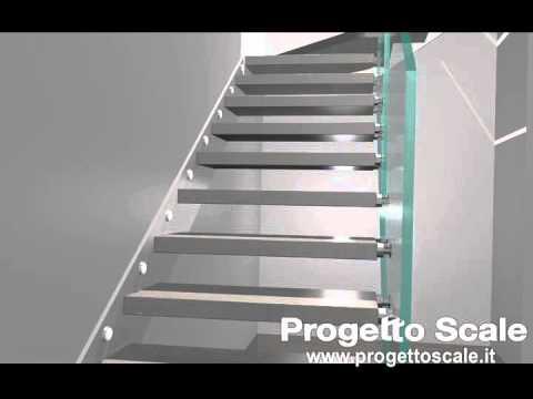 Video 3d   scala per interni con ringhiera in vetro   youtube