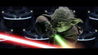 Магистр Йода сражается с Дартом Сидиусом. Энакин против Оби-Вана. HD
