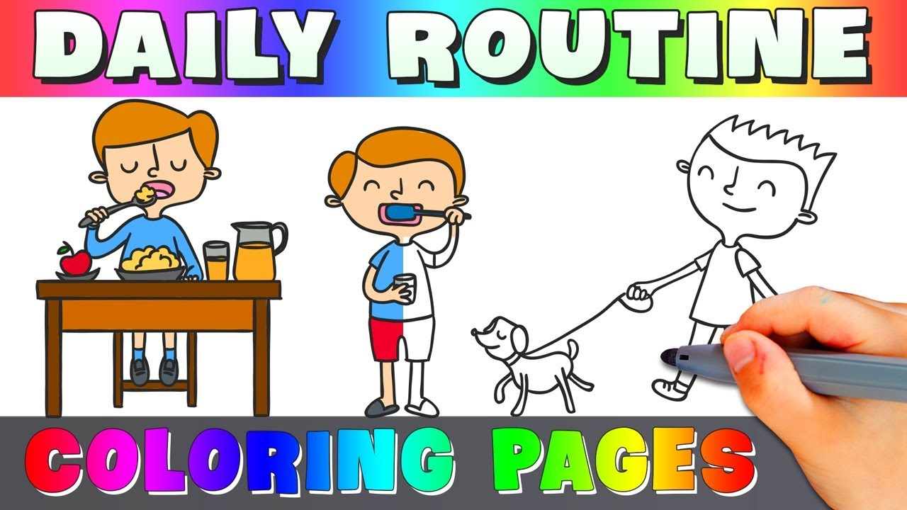 Boy Daily Routine Coloring Page