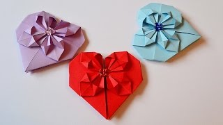 Валентинка из бумаги Оригами. Heart paper Origami