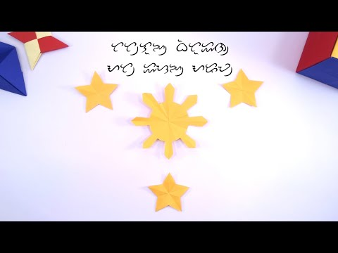 Easy DIY 3 Stars and a Sun Tutorial | Paper Folding & Cutting | How to make a Philippine Flag Part 1