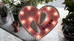 3d Baby Abdrücke im LED Herzrahmen