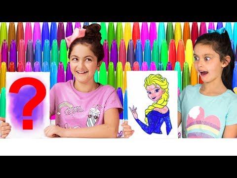 3 MARKER CHALLENGE! SIS vs SIS 😄 DISNEY FROZEN Elsa, MLP and Minions Edition!
