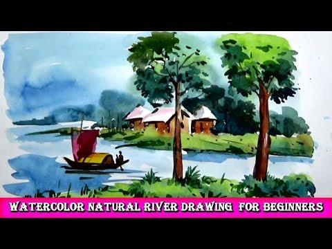 Watercolor Natural River Drawing  for Beginners | Art Drawing Tutorial