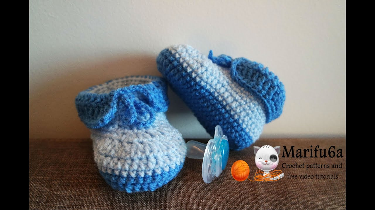How to crochet easy baby booties full free pattern - YouTube
