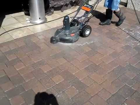 Cobblestone Interlocking Concrete Brick Paver Cleaning With Surface Cleaner  #3