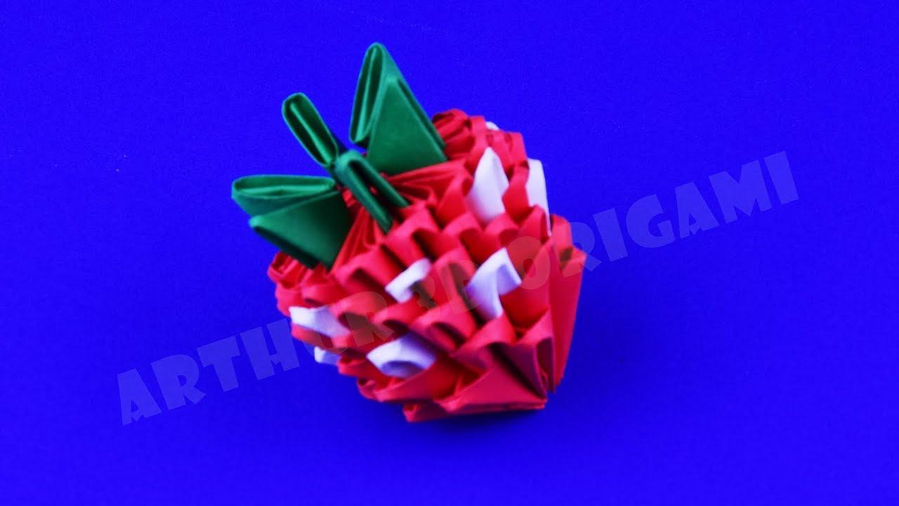 Kağıt çilek nasıl yapılır ✿ 3D origami öğretici DIY kendi elleri