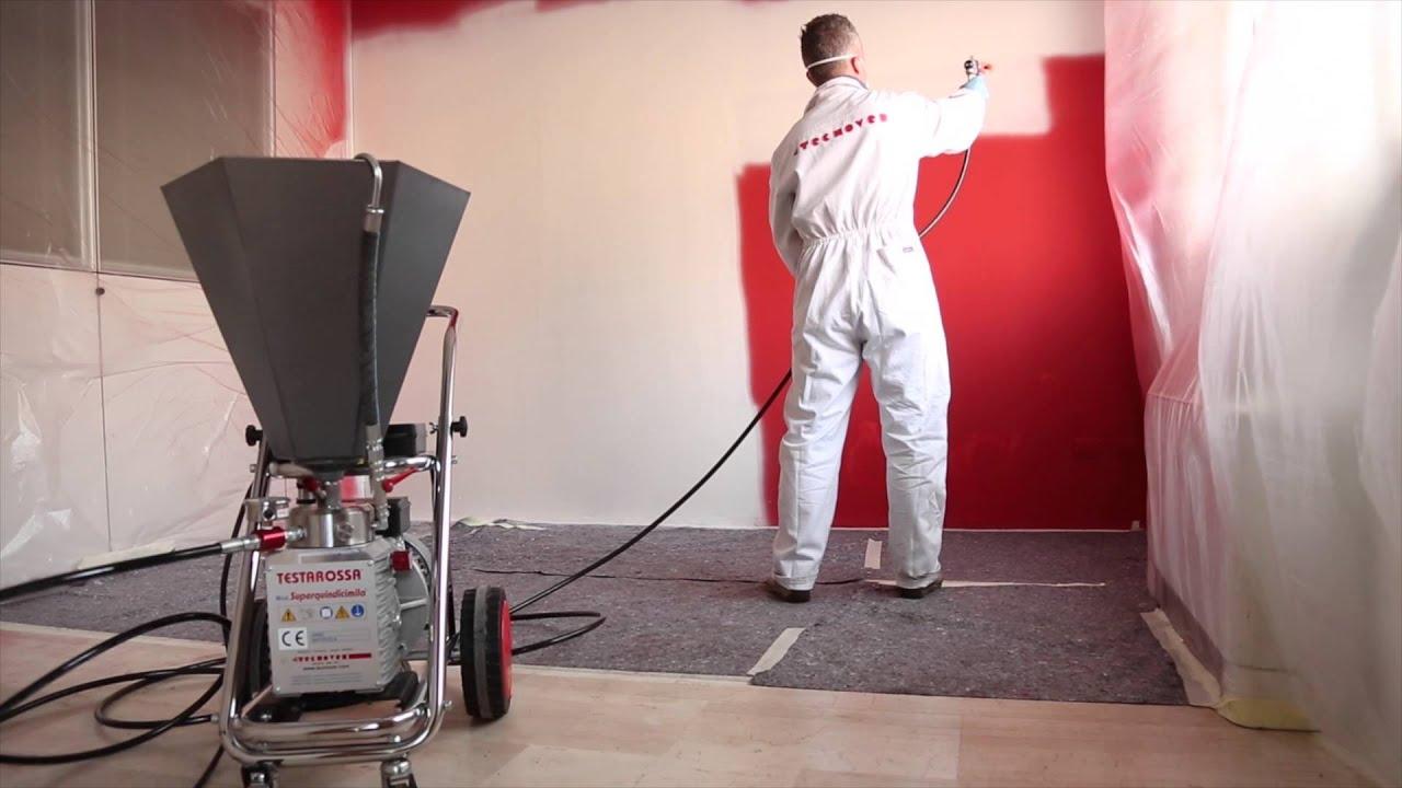 Pitturare Le Pareti A Spruzzo.Airless Tecnover Mod Tr15000f Per Pitture Al Quarzo E Stucchi Youtube