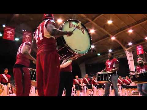 Razorback Band and Football Players Drum Battle