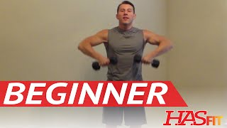 15 Minute Beginner Weight Training - Easy Exercises - HASfit Beginners Workout Routine - Strength thumbnail