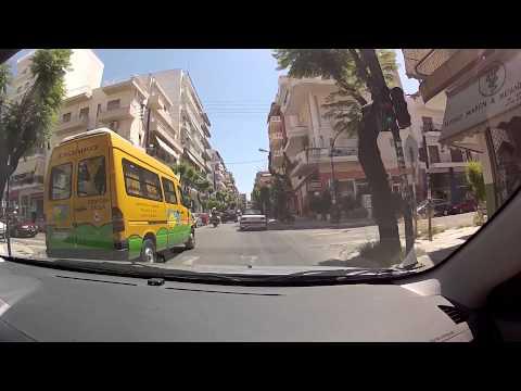 Patras downtown (Panepistimiou, Maizonos, Venizelou streets, Greece / city driving) - onboard camera