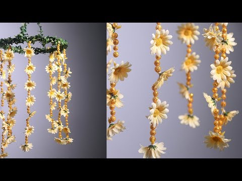DIY Wind Chime with Beautiful Flowers   Wall Hanging  