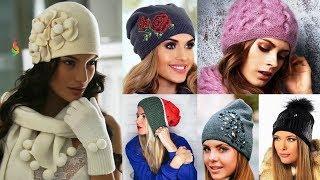 Модные вязаные шапки 2019. Тренды осень-зима 2018-2019. Обзор женских головных уборов.