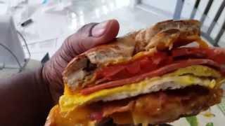 Bacon Egg & Cheese + Bologna On A Cinnamon Raisin Bagel Breakfast Oster Toaster Oven Recipe