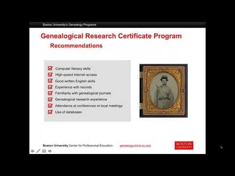 Boston University Genealogy Programs Overview