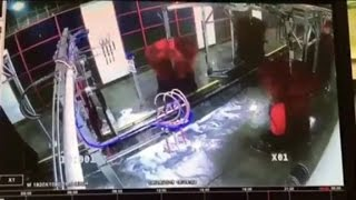 Car wash manager gets caught in giant brush