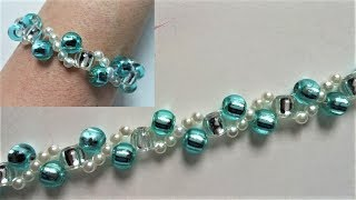 Beading tutorials for beginners. How to make a bracelet using pony beads and pearl beads
