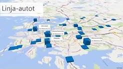 Liikennemäärät Helsingissä 2014 Power Map animaationa