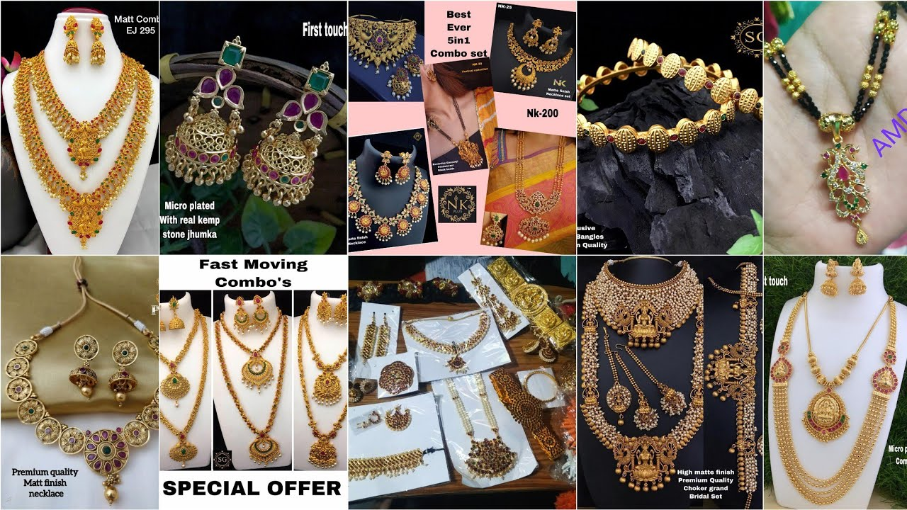 Huge jewellery collection with prices Classical jewellery sets Combo sets and huge blackbeeds collec