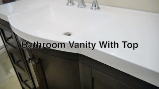 Modern Bathroom Vanities With Tops In Wood Style W/ 48 Inch White Sink & Matching Mirrors / Cabinet