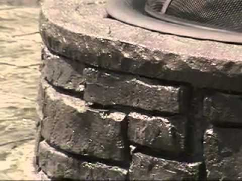 Stamped Concrete Patio with Fire Pit - Stamped Concrete Patio With Fire Pit - YouTube
