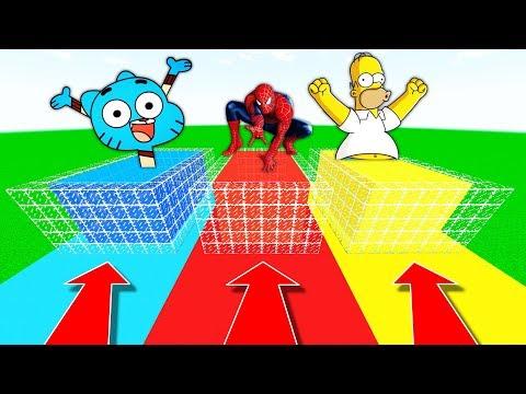 NE RENTREZ PAS DANS LA MAUVAISE PISCINE MINECRAFT !! Gumball Spiderman Homer Simpson !
