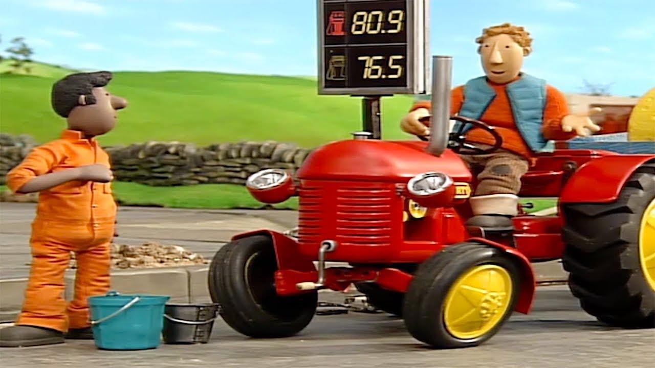 Kleiner roter traktor hof des jahres cartoon ganze