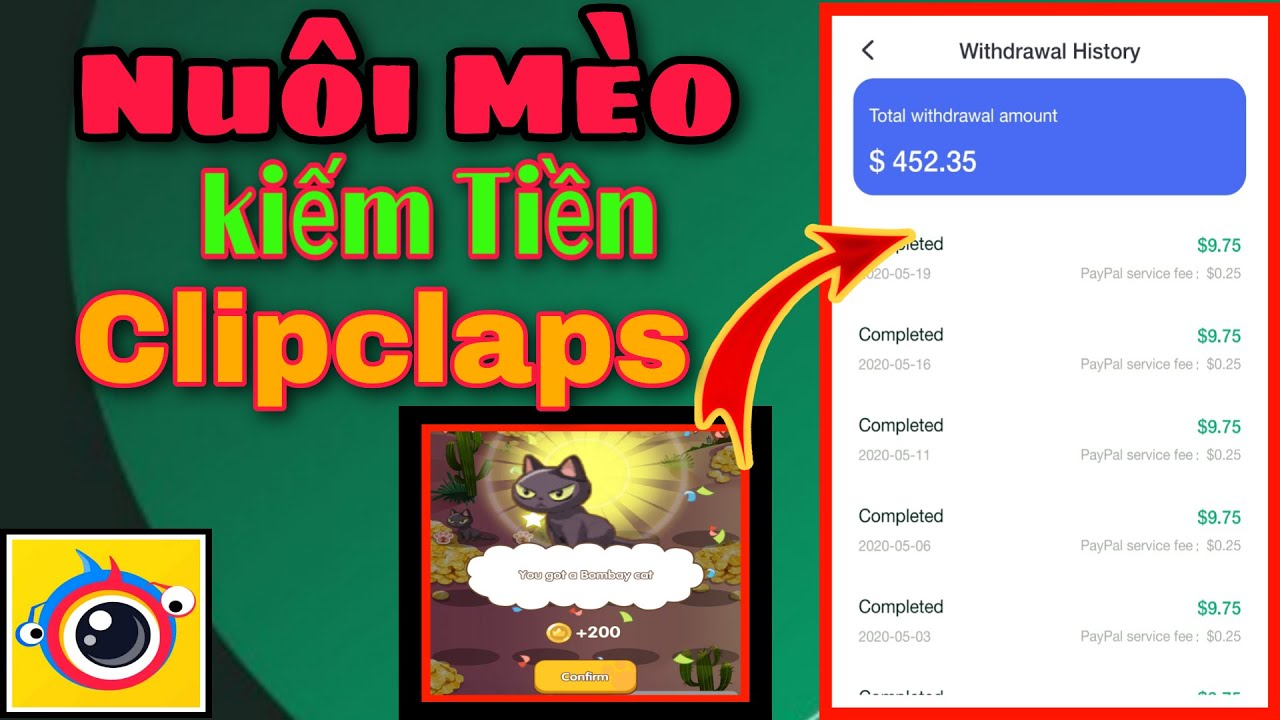 [Game Hot] Nuôi mèo kiếm tiền triệu trong game ClipClaps cực ngon    Kiếm tiền online 2020