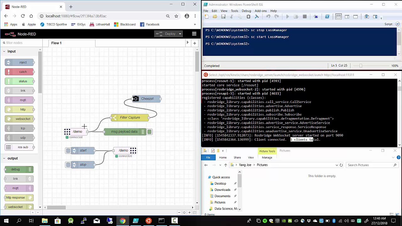ROS - Kinectic and ROSBridge Server with Ubuntu on Windows 10 and Node RED  demo