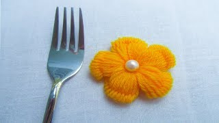 Hand Embroidery, Easy flower embroidery trick with fork, Woolen flower