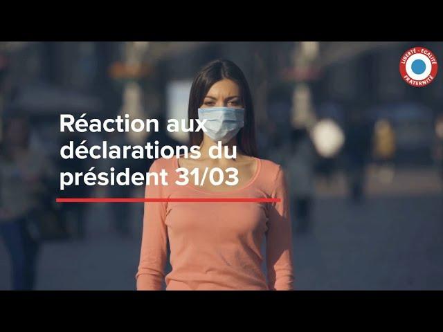 Crise Sanitaire : Réaction aux déclarations du Président du 31 mars 2021