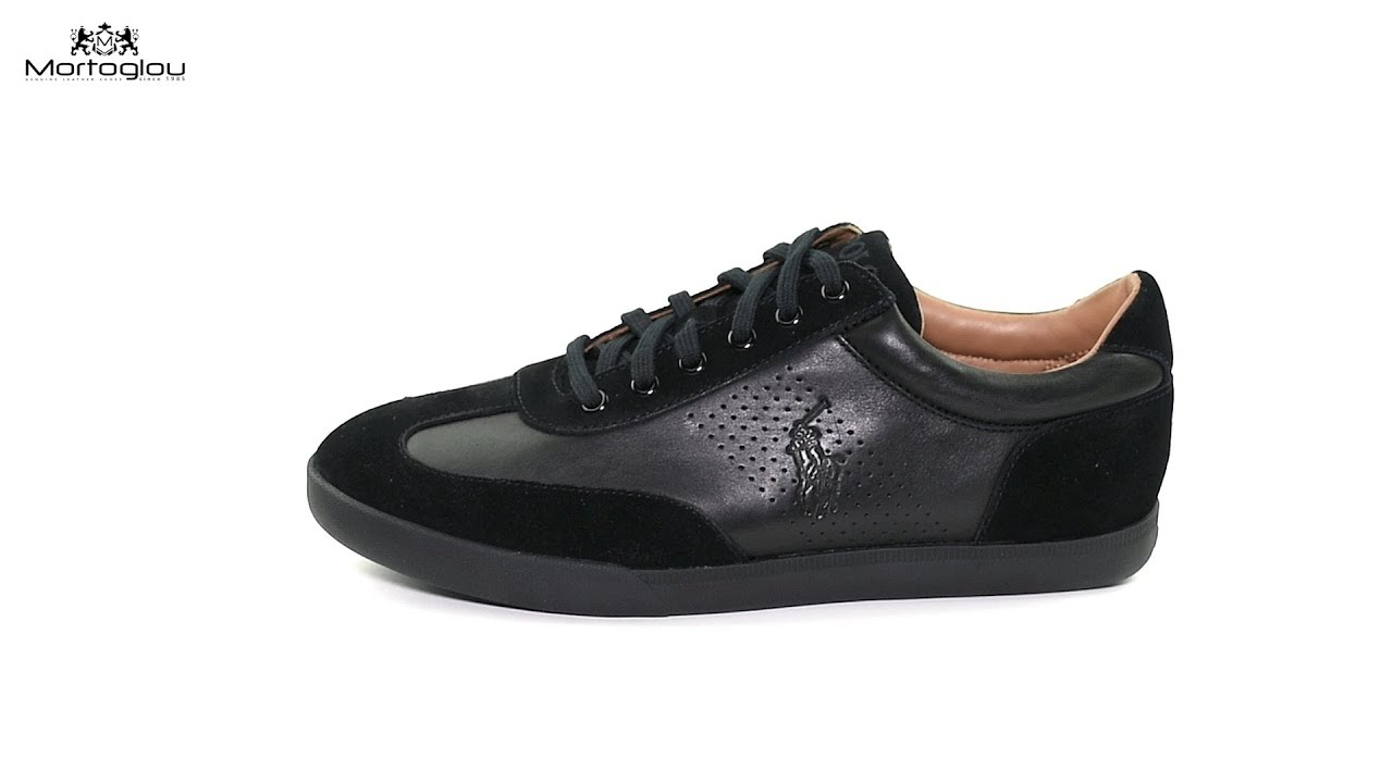 9bb8160866b Ανδρικά Παπούτσια Casual Polo Ralph Lauren Cadoc Black Leather - YouTube