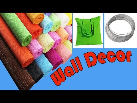 Shopping Bag Wall Hanging | How To Make Crepe Paper Pigeonwings Flower | Aparajita Flower Hanging