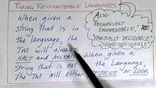Lecture 25/65: Definition of TMs and Related Language Classes
