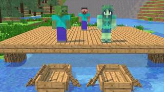 Monster School: Water Challenges -Fishing - Rowing - Swimming - Minecraft Animation
