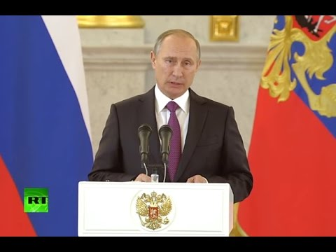 Putin reacts to Trump victory as he speaks at ceremony to welcome new ambassadors (Streamed Live)