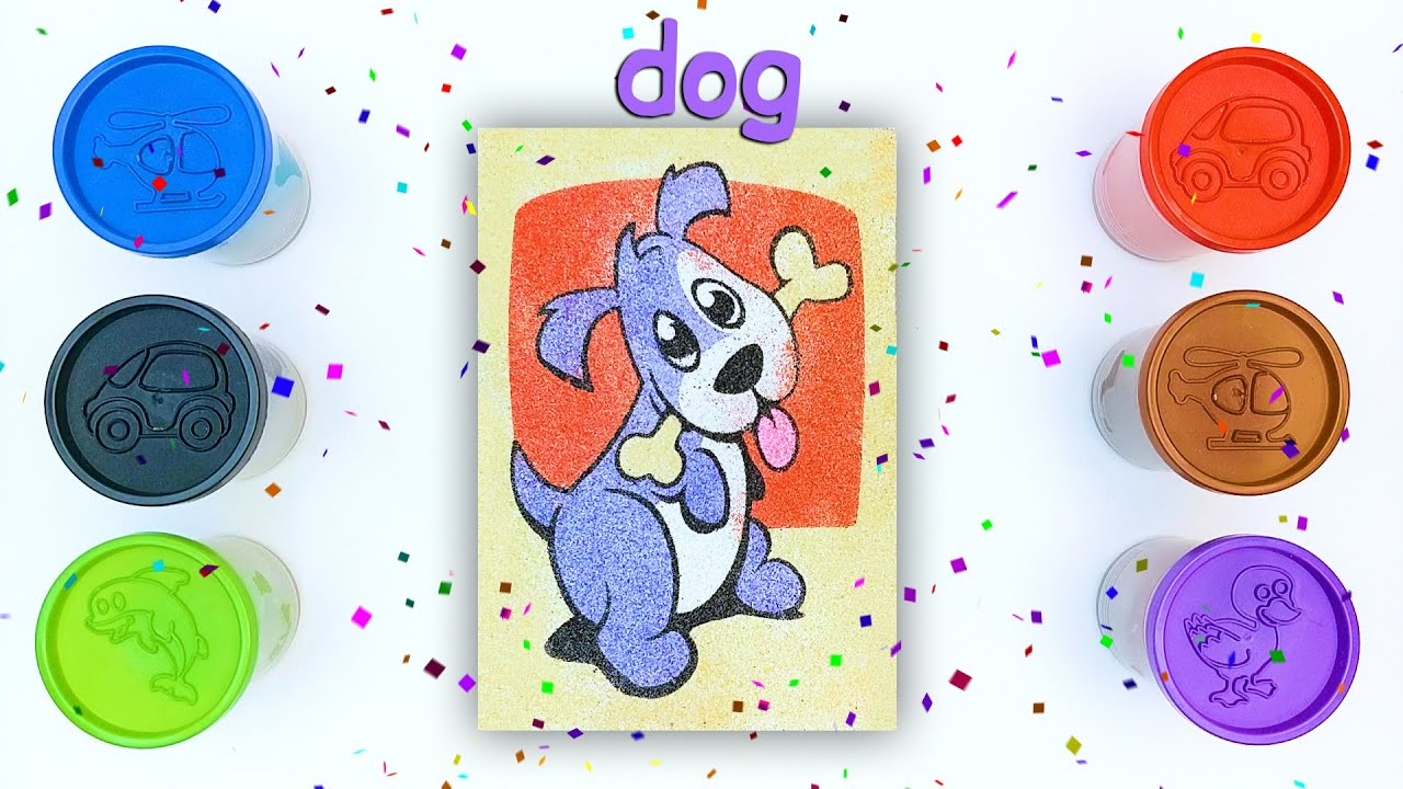 Painting With Colorful Sand l Sand Painting Series l Dog l Kum Boyama l Coloring & Drawing l #23