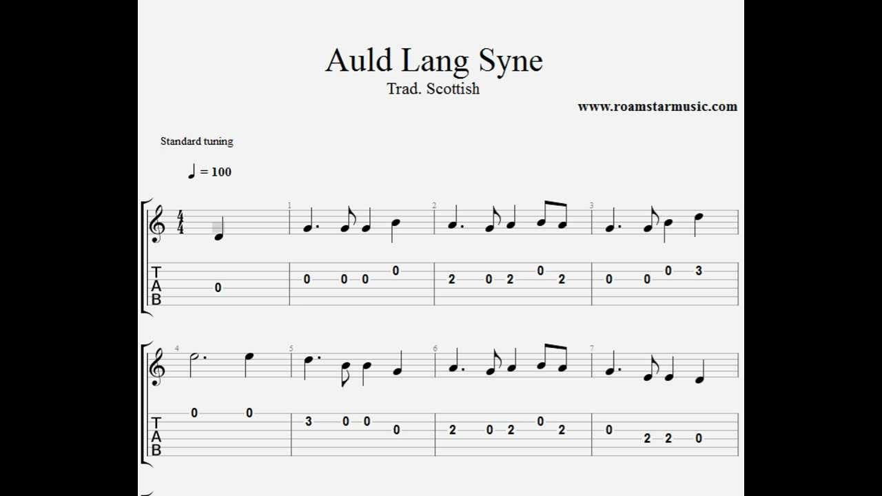 Auld Lang Syne Guitar tab for beginners - YouTube