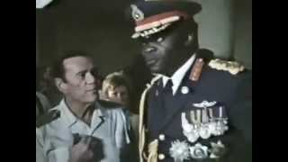 Idi Amin visits the hostages at Entebbe Airport, Uganda, 1976