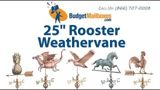 "Budgetmailboxes.com | Good Directions 501v1 25"" Rooster Weathervane - Blue Verde Copper"