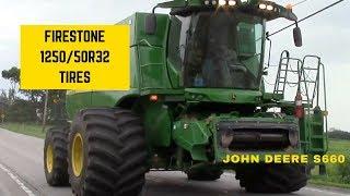 Monster Firestone 1250/50R32 Tires on a John Deere S660 Combine