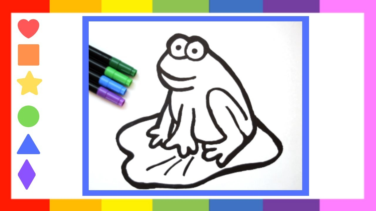 How to Draw and Color a Frog   Cartoon Drawing for Kids ...