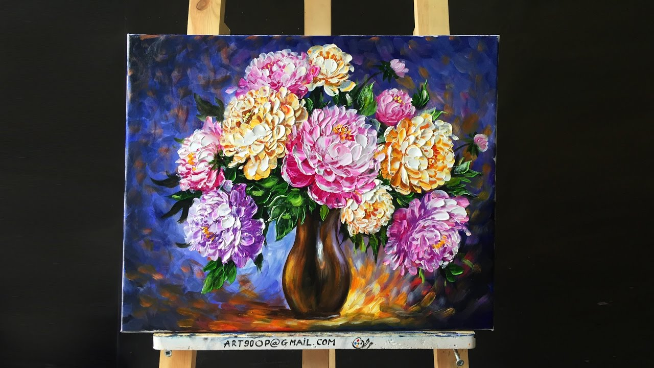 Paint beautiful peonies with acrylic paints and a palette for How to paint with a palette knife with acrylics