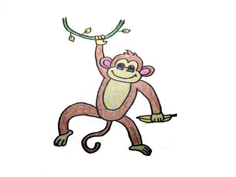 วาดรูป ลิง สอนวาดรูปการ์ตูนน่ารักง่ายๆ สอนวาดรูปการ์ตูนระบายสี How To Draw Monkey Cartoon